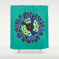 cara Shower Curtains featuring Cara Blue by Ellie And Ada