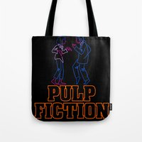 pulp fiction Tote Bags featuring Pulp Fiction by Studio 401