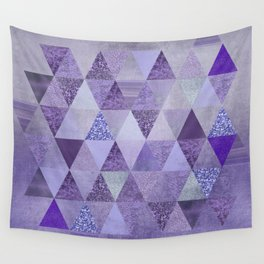Glamorous Purple Faux Glitter And Foil Triangles Wall Tapestry