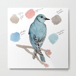 Watercolor Mountain Blue Bird Illustration Metal Print