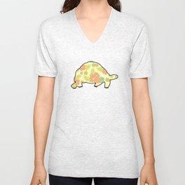 Radiated Tortoise - Hibiscus Pattern - Tropical. Unisex V-Neck