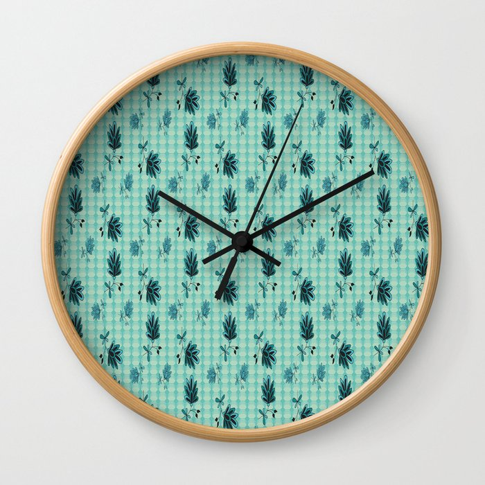 country blue flowers pattern Wall Clock