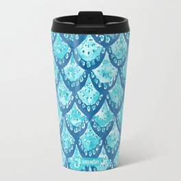 MERMAID SPARKLE Fish Scales Scallop Watercolor Travel Mug