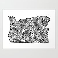 Oregon State Illustration with Flowers Art Print
