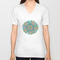 funky V-neck T-shirts featuring Funky Flower by DesignsByMarly