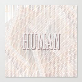 Human Typography Pattern on Weaved Textured Minimal Funny Canvas Print