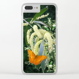 butterflies and wattle with green abstract bouquet Clear iPhone Case