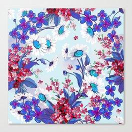 Cool blue floral garland texture Canvas Print