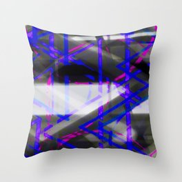 Electric Blue Pink Zig Zag Abstract Throw Pillow