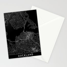 Auckland Black Map Stationery Cards
