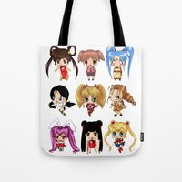 anime Tote Bags featuring Anime Pigtails by artwaste