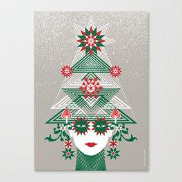 Christmas woman tree Canvas Print