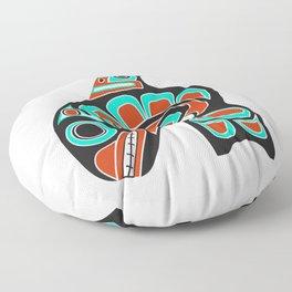 Alaska Orca Whale Haida Style Art - Native American Tribal Floor Pillow