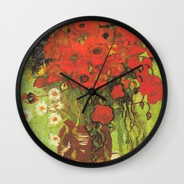 Still Life: Red Poppies and Daisies by Vincent van Gogh Wall Clock