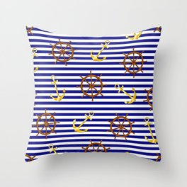 Nautical pattern with gold anchor, ship steering wheel Throw Pillow