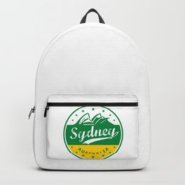Sydney City, Australia, circle, green yellow Backpack