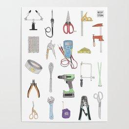 Watercolor Tools Grid Poster