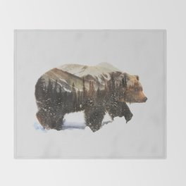 Arctic Grizzly Bear Throw Blanket