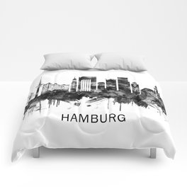 Hamburg Germany Skyline BW Comforters