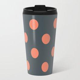 Grey Salmon Pink Polka dots Travel Mug