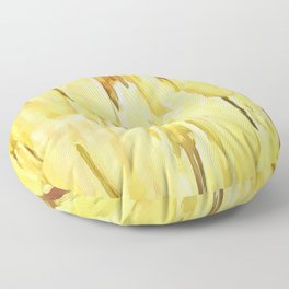 Pale Yellow Tulips Abstract Floral Pattern Floor Pillow