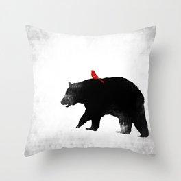 Bear and Bird Art Throw Pillow