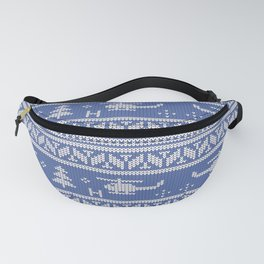 White and Blue Helicopter Aviation Christmas Pattern Fanny Pack