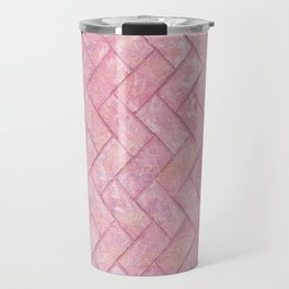 Pink Marble Brick Pattern Travel Mug