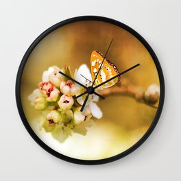 Blooms and Butterflies Wall Clock