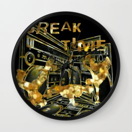 Break Time (black and gold vers.) Wall Clock