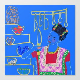 FRIDA KAHLO AND HER KNIFE Canvas Print