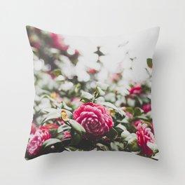 "Camellia ""Sea foam"" flower Throw Pillow"