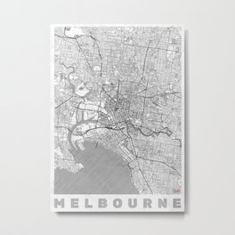Melbourne Map Line Metal Print