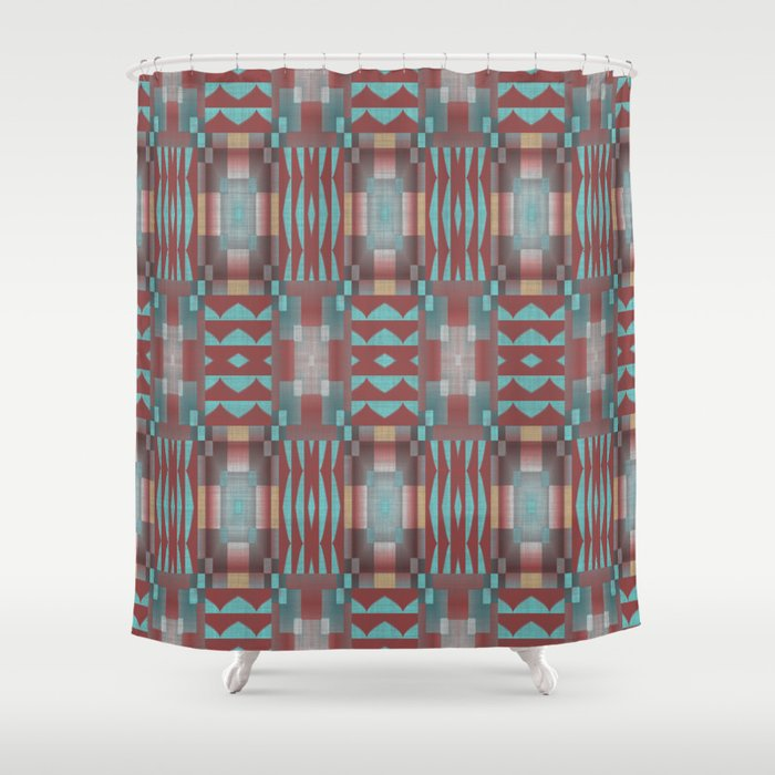 Coral Red Brown Aqua Turquoise Mosaic Pattern Shower Curtain