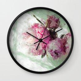 Sketch Painting Peony Wall Clock