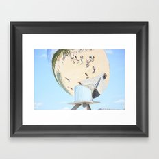 Reflections of unidentified tourists from all over the world in the spherical mirror Framed Art Print