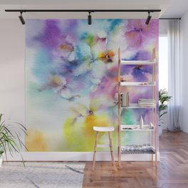 Abstract flowers. Watercolor floral pattern. Colorful delicate florals. Wall Mural