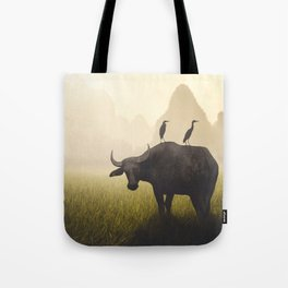 Water Buffalo And Egrets Tote Bag