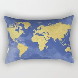 Gold Navy World Map, Elegant, Gold Foil, Nursery,  Rectangular Pillow