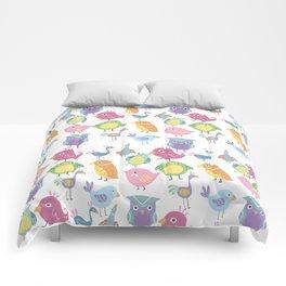 Hand drawn pink blue green orange birds illustration Comforters