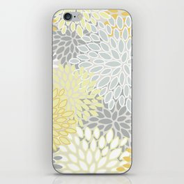 Floral Prints, Soft, Yellow and Gray, Modern Print Art iPhone Skin