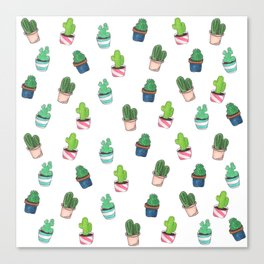 Cacti Abound Watercolor Graphic Print Canvas Print