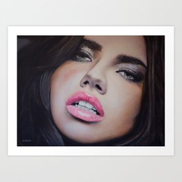 Adriana Lima Oil on Canvas Portrait Art Print