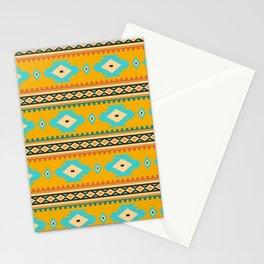 Bohemian mustard pattern. Turquoise diamonds Stationery Cards
