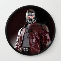 star lord Wall Clocks featuring Star Lord Fan Art by Vito Fabrizio Brugnola