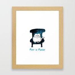 Purr is Power  (Blue) Framed Art Print