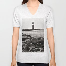 Lighthouse - Warnemuende - Beach - Baltic Sea Unisex V-Neck