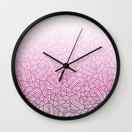 Gradient pink and white swirls doodles Wall Clock