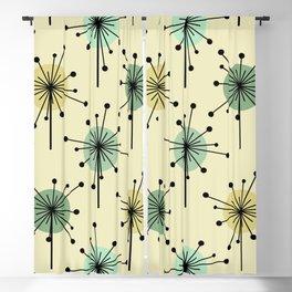 Atomic Era Sputnik Starburst Flowers Mint Blackout Curtain