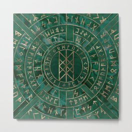 Web of Wyrd - Malachite, Leather and Golden texture Metal Print